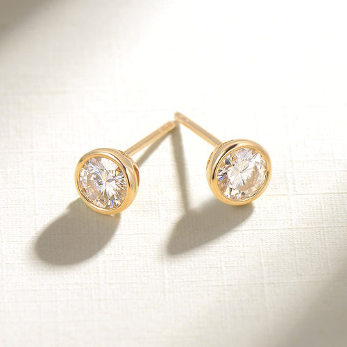 Crescent Cross 14K Solid Gold Stud Earrings