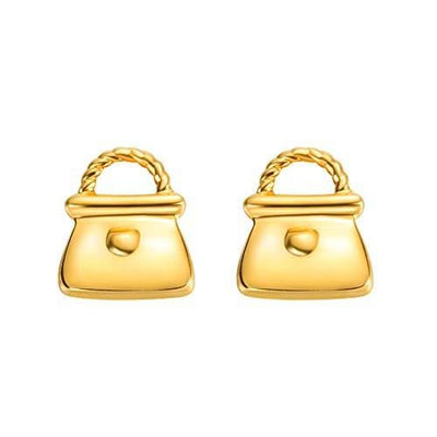 18K Little Purse Solid Yellow Gold Tiny Cute Diamond Earring Studs - FANCI ME