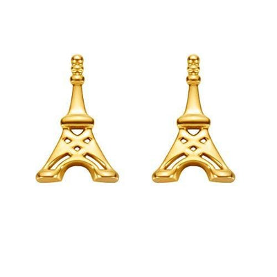 18K Eiffel Tower Solid Yellow Gold Tiny Cute Diamond Earring Studs - FANCI ME