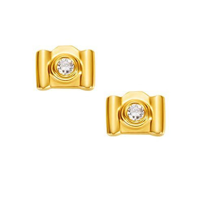 18K Camera Solid Yellow Gold Tiny Cute Diamond Earring Studs - FANCI ME