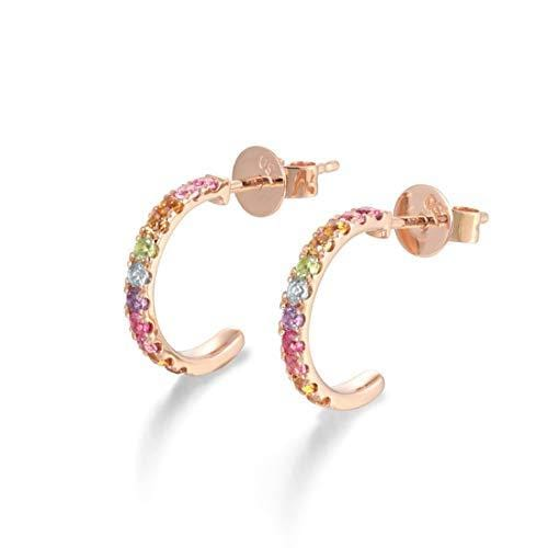 14k Solid Rose Gold Genuine Multi-Colored Gemstone Small Half Hoop Earrings - FANCI ME