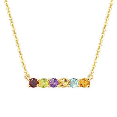 """Star Bar"" 14K Multi Colored Gemstone Bar Necklace - FANCI ME"