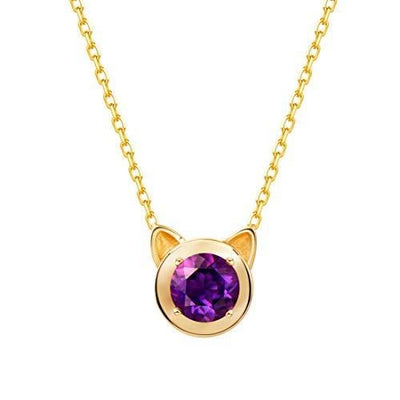 """Purple Kitty"" Amethyst Round Necklace in 14K Yellow Gold - FANCI ME"