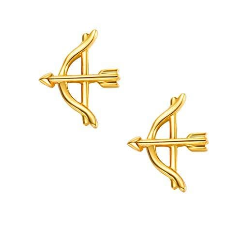 18K Arrow Solid Yellow Gold Tiny Cute Diamond Earring Studs - FANCI ME