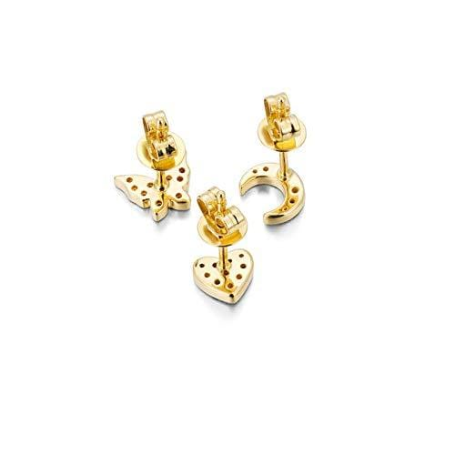 FANCIME 14K Solid Yellow Gold Natural Sapphire Love Heart/Moon/Butterfly Stud Earrings