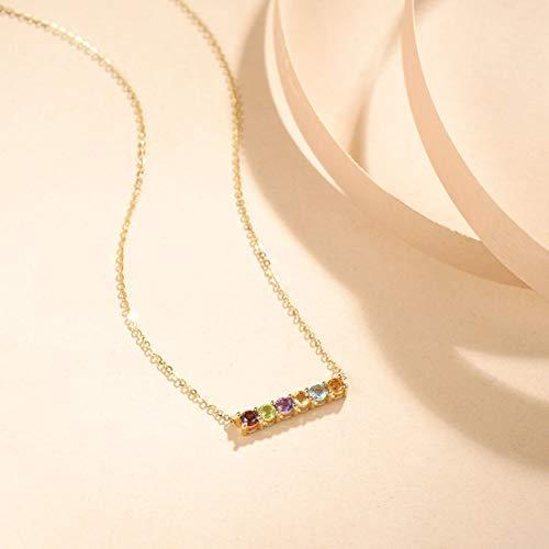 "FANCIME 18k Solid Yellow Gold Peridot/Citrine/Garnet/Topaz/Amethyst Bar Pendant Necklace 16"" + 2"" Extender"