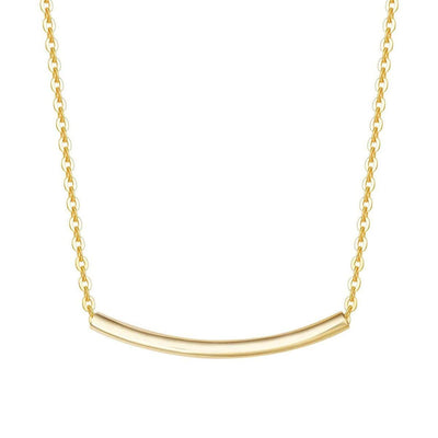 Tube Gold Bar Necklace In 14K Yellow Gold - FANCI ME