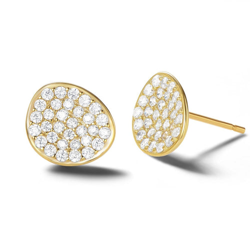 White Petal Gold Vermeil Stud Earrings