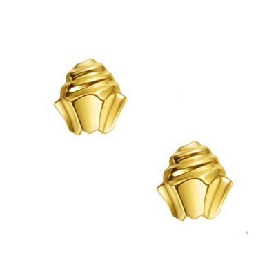18K Cupcake Solid Yellow Gold Tiny Cute Diamond Earring Studs - FANCI ME