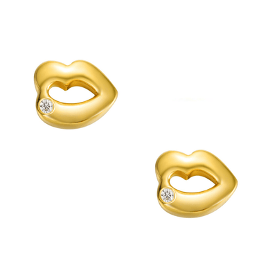 18K Lip Kiss Solid Yellow Gold Tiny Cute Diamond Earring Studs - FANCI ME