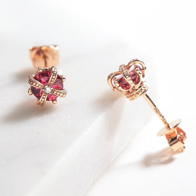 Fancy Pink Tourmaline Earrings Crown Earrings