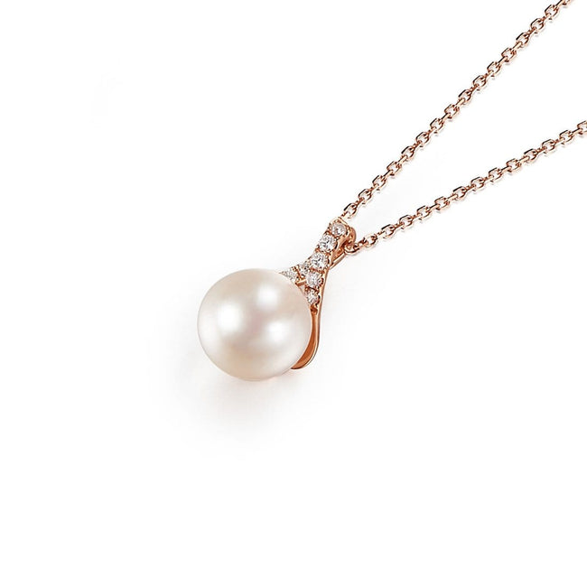 "Diamond ""Wishbone"" Akoya Pearl Pendant 18k Gold Necklace"