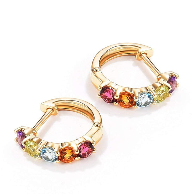 FANCIME 14K Solid Yellow Gold 0.77cttw Multi Colored Amethyst Peridot Topaz Citrine Garnet Hinged Huggie Cartilage Tiny/Small Hoop Earrings Dainty Delicate Fine Jewelry Diameter 12mm