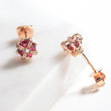 Fancy Pink Tourmaline Earrings Crown Earrings - FANCI ME
