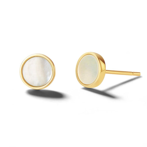 Mother Of Pearl 14K Solid Gold Round Stud Earrings - FANCI ME