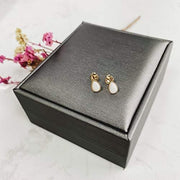 """Lumi"" Pearl Natural Opal Studs In 14K Solid Yellow Gold - FANCI ME"