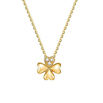 """Lucky Clover"" Floral Diamond Pendant Necklace In 14K Yellow Gold, 18"" Chain - FANCI ME"
