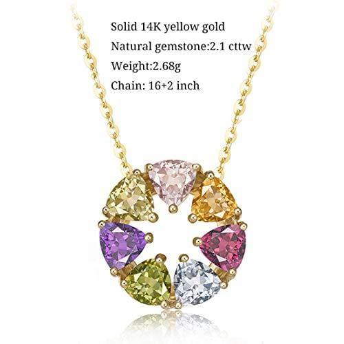 "FANCIME 14K Solid Yellow Gold Multicolored Pink Tourmaline/Peridot/Garnet/Citrine/Topaz/Amethyst Round Open Circle Pendant Necklace 16"" + 2"" Extender"