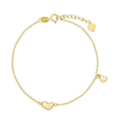 """Heart To Heart"" Love Message Charm Dainty Bracelet In 18K Yellow Gold - FANCI ME"
