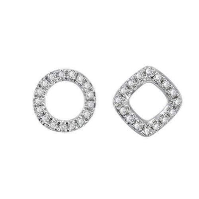 14K Solid White Gold Asymmetry Geometric And Circle 0.12CTTW Diamonds Minimalist Dainty Earrings - FANCI ME