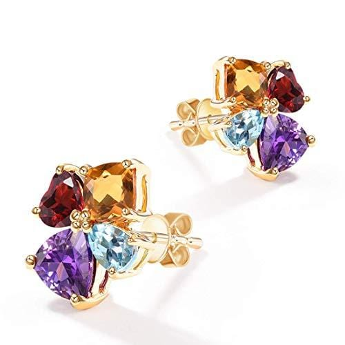 FANCIME 14K Solid Yellow Gold Multicolored Gemstone Citrine/Topaz/Amethyst/Garnet Stud Earrings