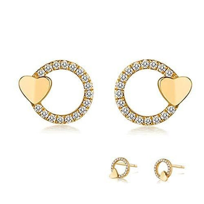 Paper Heart Open Circle Diamond Earring Studs in 14K Yellow Gold - FANCI ME