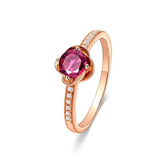Carleen 18K Solid Rose Gold Flower Round Cut Four Prong 0.34ct Natural Pink Tourmaline Engagement Ring 0.063cttw Diamond Dainty Fine Jewelry Ring