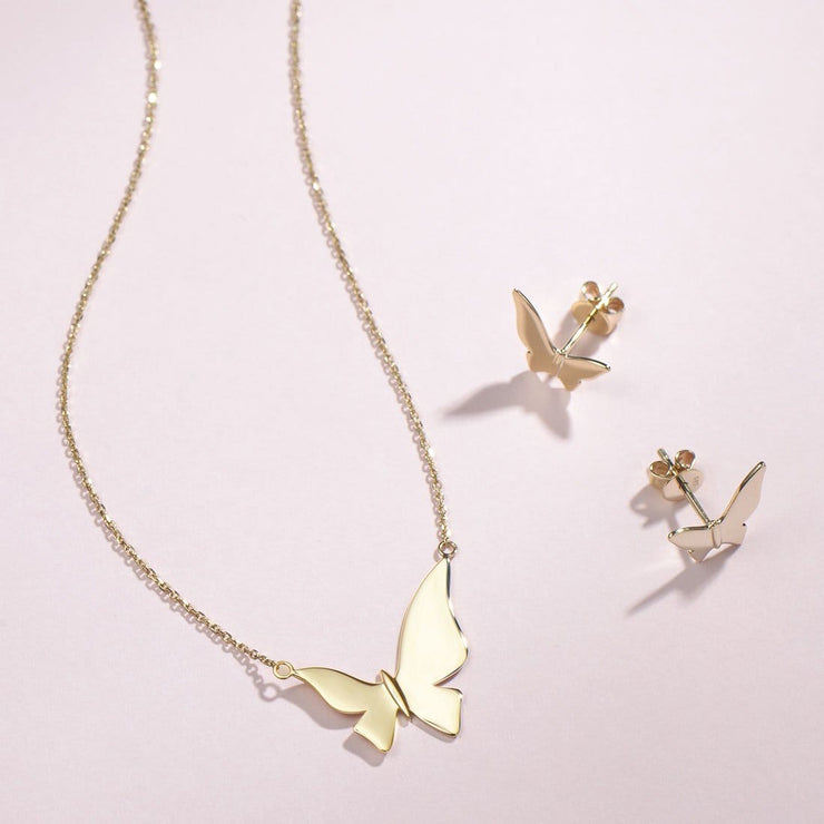 """Bright Tango"" 14K Yellow Gold Butterfly Necklace, 18 INCH - FANCI ME"