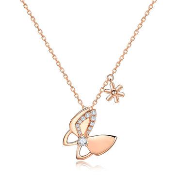 """Iconic Rose"" 18K Solid Rose Gold Diamond Butterfly Necklace - FANCI ME"