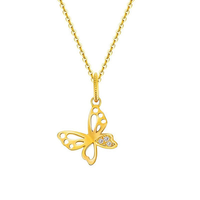 """Jannie"" Diamond Accent Butterfly Pendant Necklace in 14K Yellow Gold - FANCI ME"