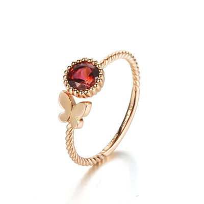 """Candice"" Tourmaline Butterfly Ring In 18K Rose Gold - FANCI ME"