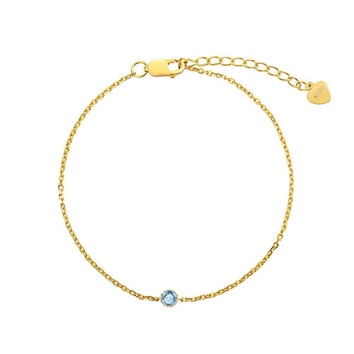 Delicate March Birthstone Aquamarine Gold Bracelet