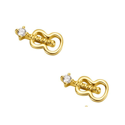 18K Guitar Solid Yellow Gold Tiny Cute Diamond Earring Studs - FANCI ME