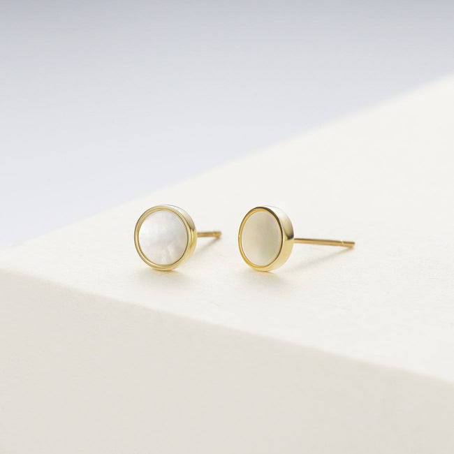Mother Of Pearl 14K Solid Gold Round Stud Earrings