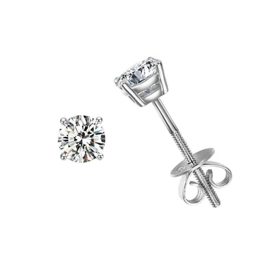 0.6 cttw 14K Solid White Gold Solitaire Round Moissanite Stud Earrings - FANCI ME