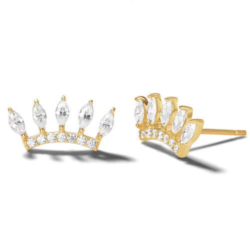Crown Crested 14K Solid Gold Stud Earrings