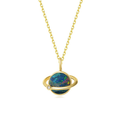 Orb Pendant Blue Fire Opal And Diamond Dainty Necklace In 18K Solid Yellow Gold - FANCI ME