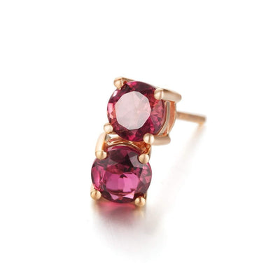 Pink Tourmaline Four Prong Stud Earrings In 14K Rose Gold - FANCI ME