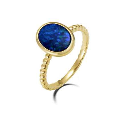 Natural Opal Shape Large Fire Opal 18K Solid Yellow Gold Statement Cable Ring - FANCI ME
