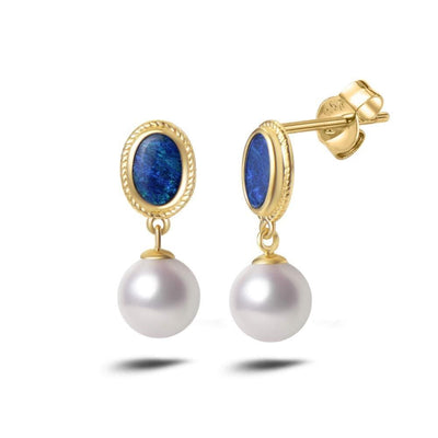 Natural White Freshwater Pearl And Fire Blue Opal 18K Solid Yellow Gold Drop Earrings - FANCI ME