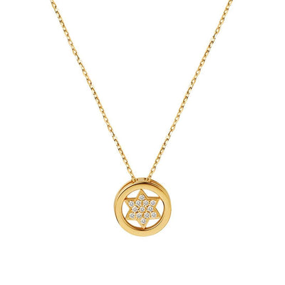 Star Of David Diamond 0.104CTTW Star Circle Pendant Necklace In 14K Yellow Gold - FANCI ME