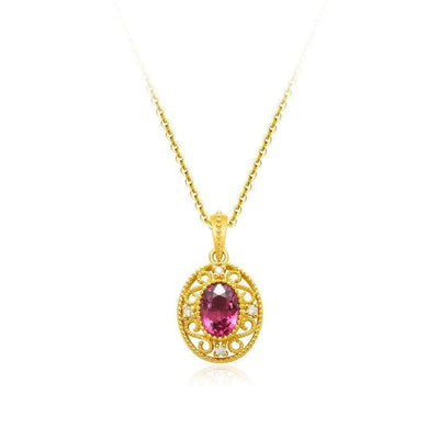 """Carolyn"" Red Oval Garnet And Diamond Pendant Necklace in 14K Yellow Gold - FANCI ME"