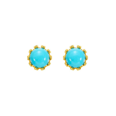 Sunflower Blue Round Turquoise Stud Earrings In 14K Yellow Gold - FANCI ME