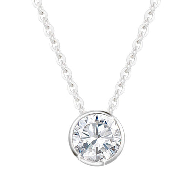 14K White Gold ONE Carat Moissanite Bezel Set Solitaire Pendant Necklace, 16+2 INCH - FANCI ME