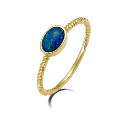Natural Opal Shape Fire Opal 18K Solid Yellow Gold Statement Cable Ring - FANCI ME