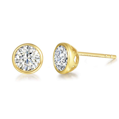 14K Solid Yellow Gold 5MM Moissanite Bezel Set Stud Earrings - FANCI ME