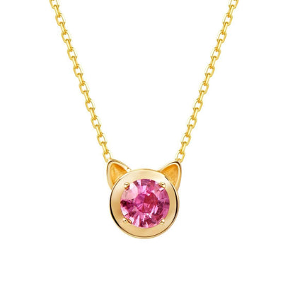 """Pink Kitty"" Pink Sapphire Round Necklace in 14K Yellow Gold - FANCI ME"