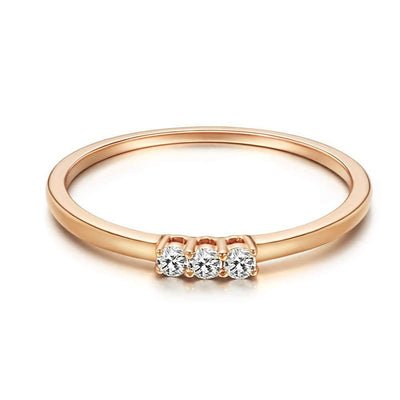 Three Stone Stackable Diamond 0.1CTTW Ring In 18K Rose Gold - FANCI ME