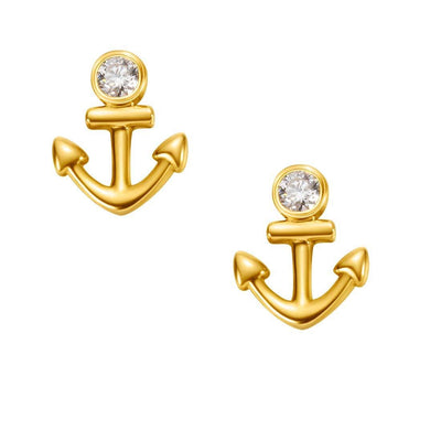 18K Anchor Solid Yellow Gold Tiny Cute Diamond Earring Studs - FANCI ME