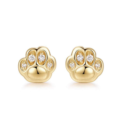 Cute Cat Paw Diamond 0.06CTTW Stud Earrings In 14K Yellow Gold - FANCI ME